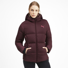 Thumbnail 1 of Essentials 400 Down Hooded Women's Jacket, Vineyard Wine, medium