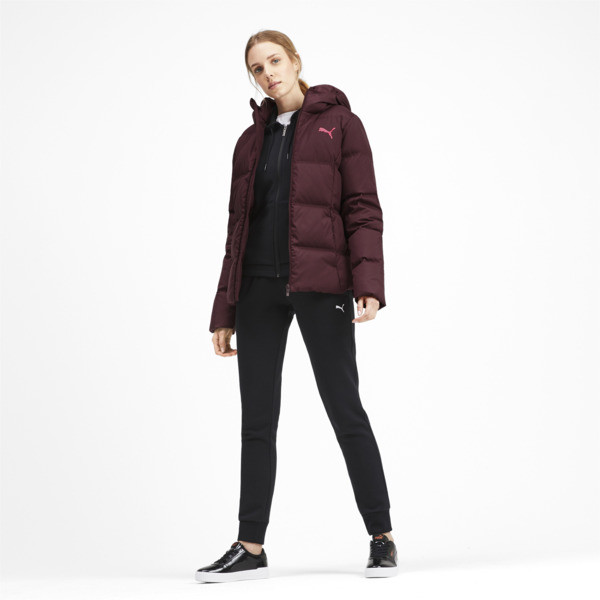 Essentials 400 Down Hooded Women's Jacket, Vineyard Wine, large