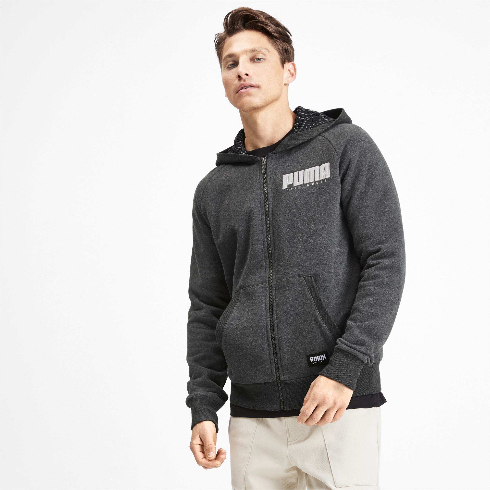PUMA-Athletics-Men-039-s-Full-Zip-Fleece-Hoodie-Men-Sweat-Basics thumbnail 4