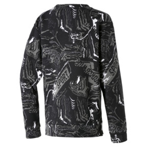 Thumbnail 2 of Alpha Graphic Long Sleeve Boys' Shirt, Puma Black, medium