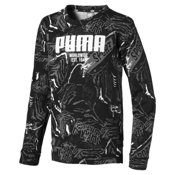 Alpha Graphic Long Sleeve Boys' Shirt, Puma Black, large