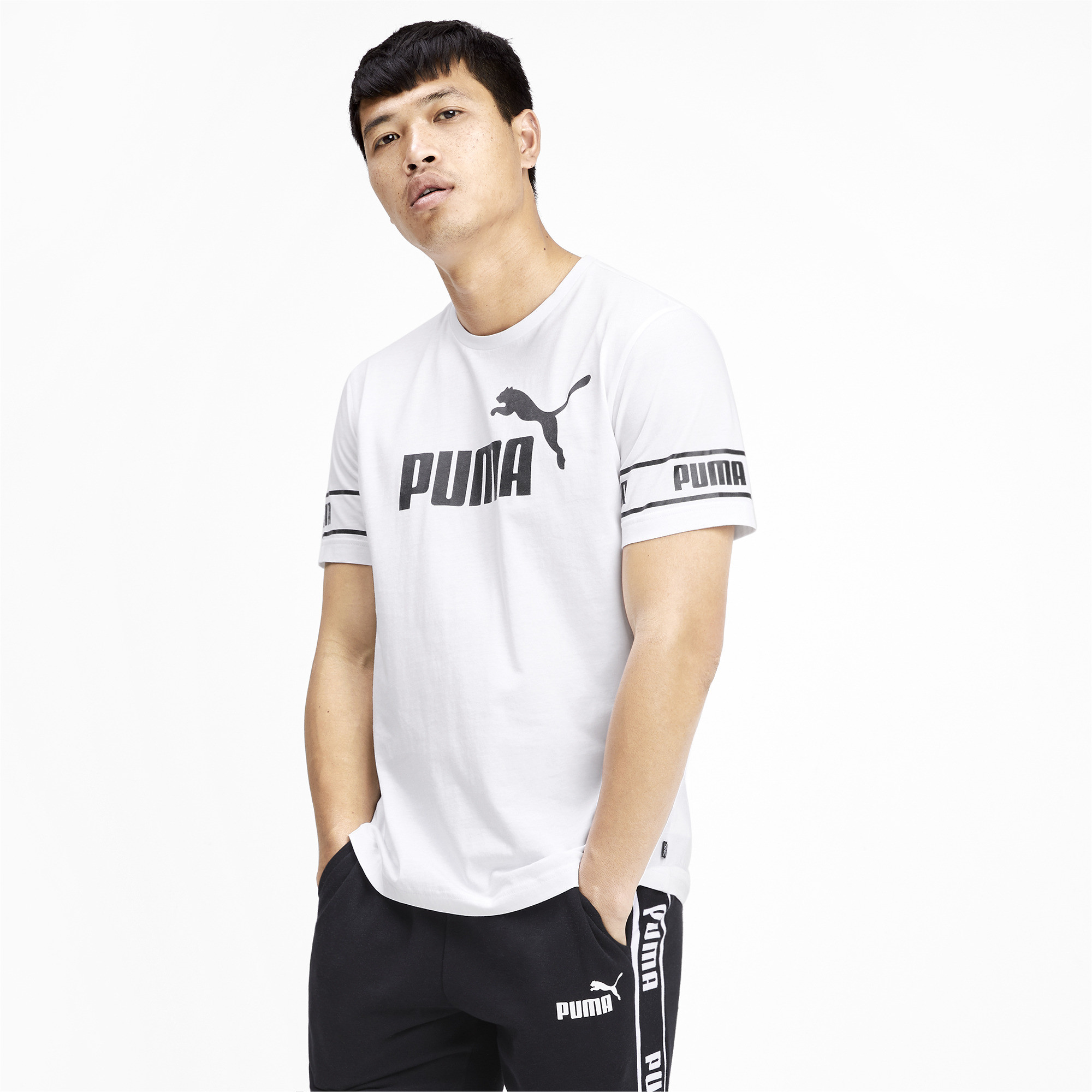 PUMA-Amplified-Men-039-s-Big-Logo-Tee-Men-Tee-Basics thumbnail 4