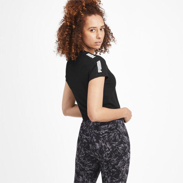 Camiseta ajustada con logo Amplified para mujer, Puma Black, grande