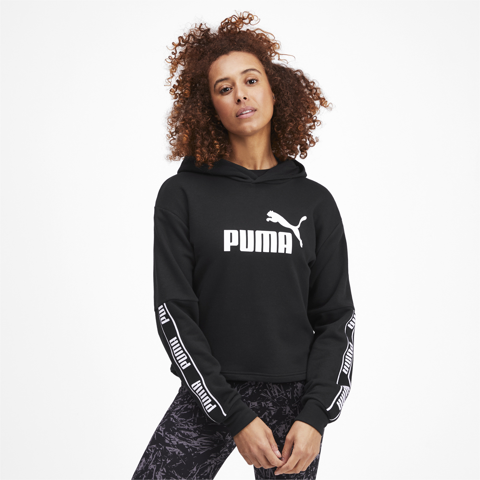 PUMA-Amplified-Women-039-s-Cropped-Hoodie-Women-Sweat-Basics thumbnail 4