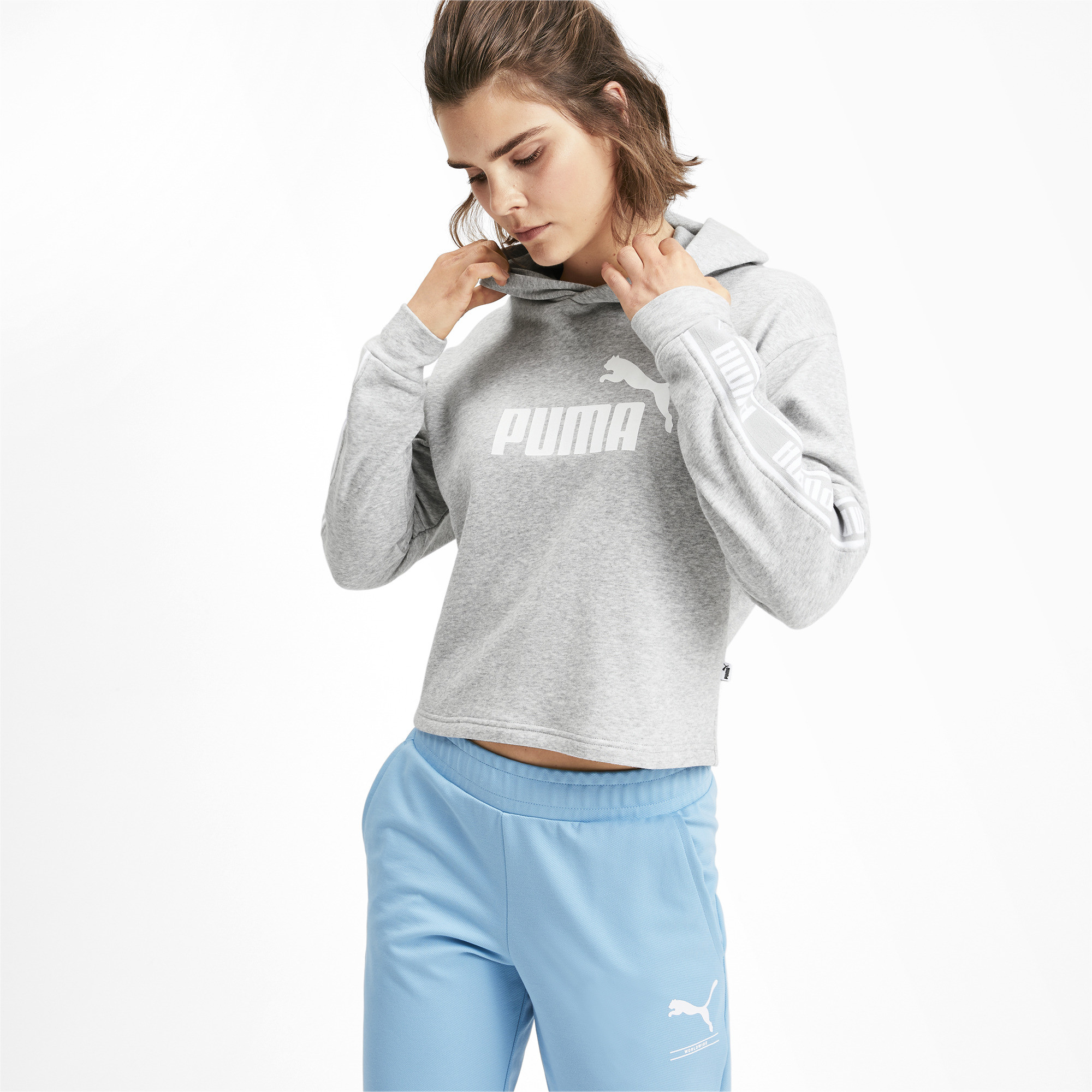PUMA-Amplified-Women-039-s-Cropped-Hoodie-Women-Sweat-Basics thumbnail 14