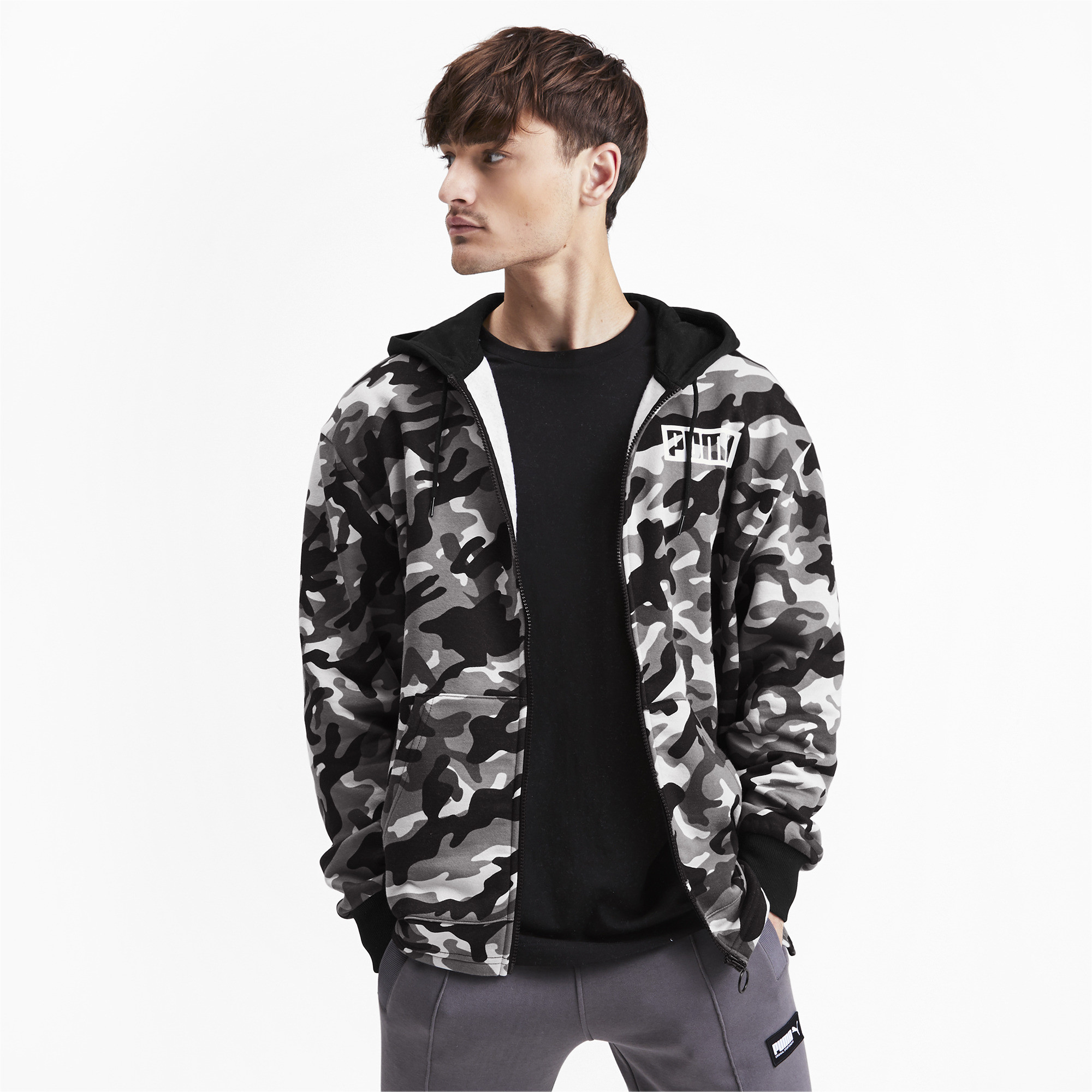 PUMA-Rebel-Camo-Men-039-s-Full-Zip-Fleece-Hoodie-Men-Sweat-Basics thumbnail 4