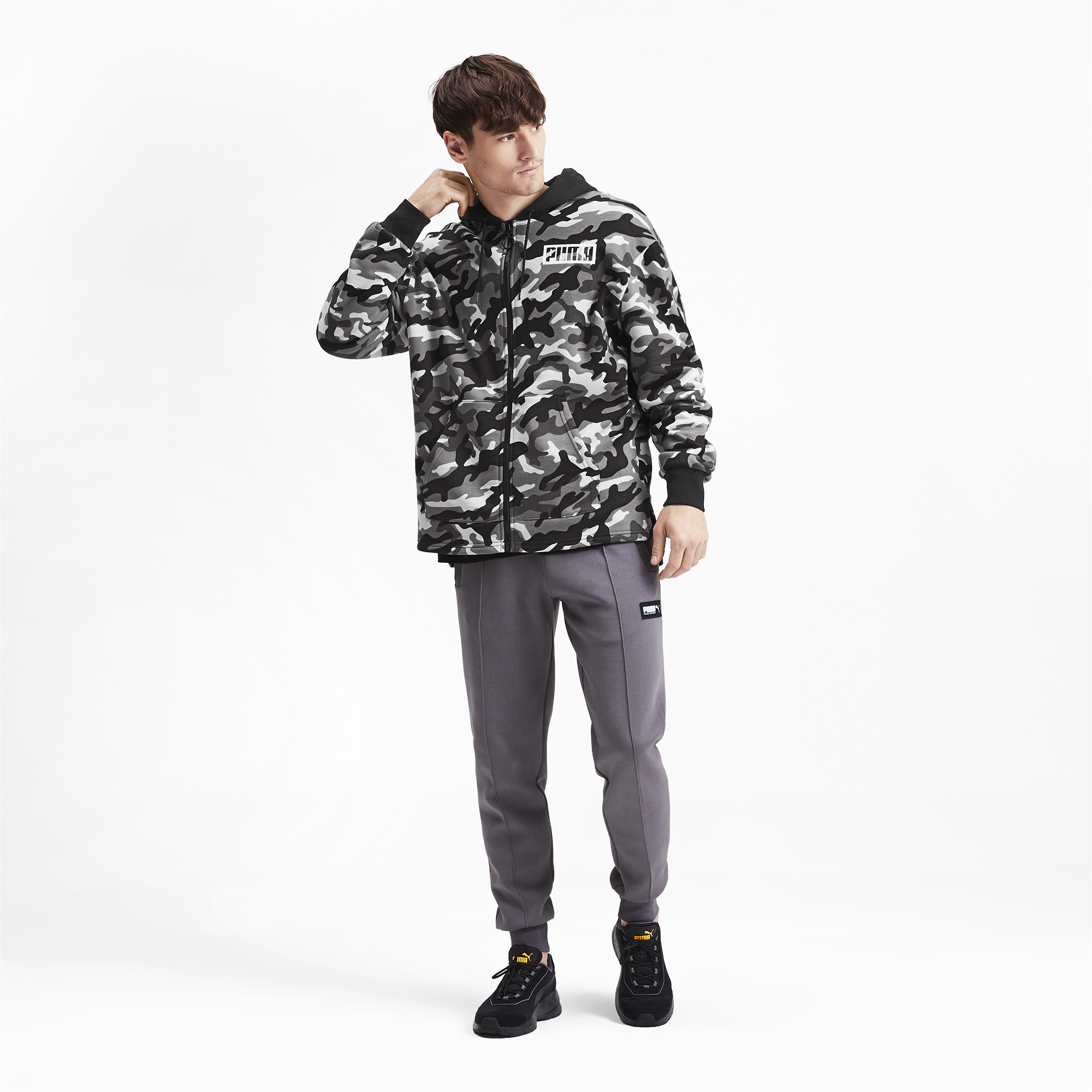 PUMA-Rebel-Camo-Men-039-s-Full-Zip-Fleece-Hoodie-Men-Sweat-Basics thumbnail 6