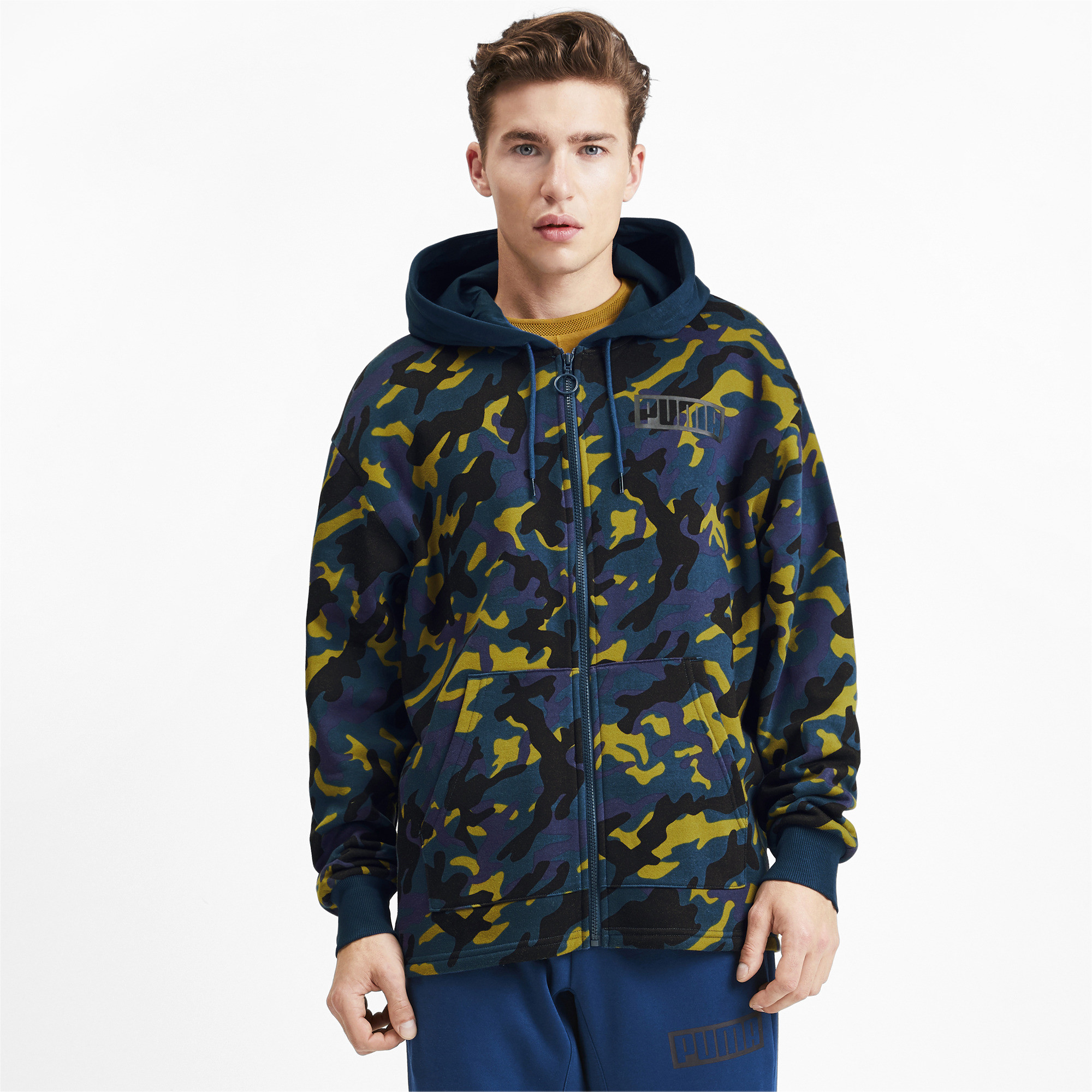 PUMA-Rebel-Camo-Men-039-s-Full-Zip-Fleece-Hoodie-Men-Sweat-Basics thumbnail 9