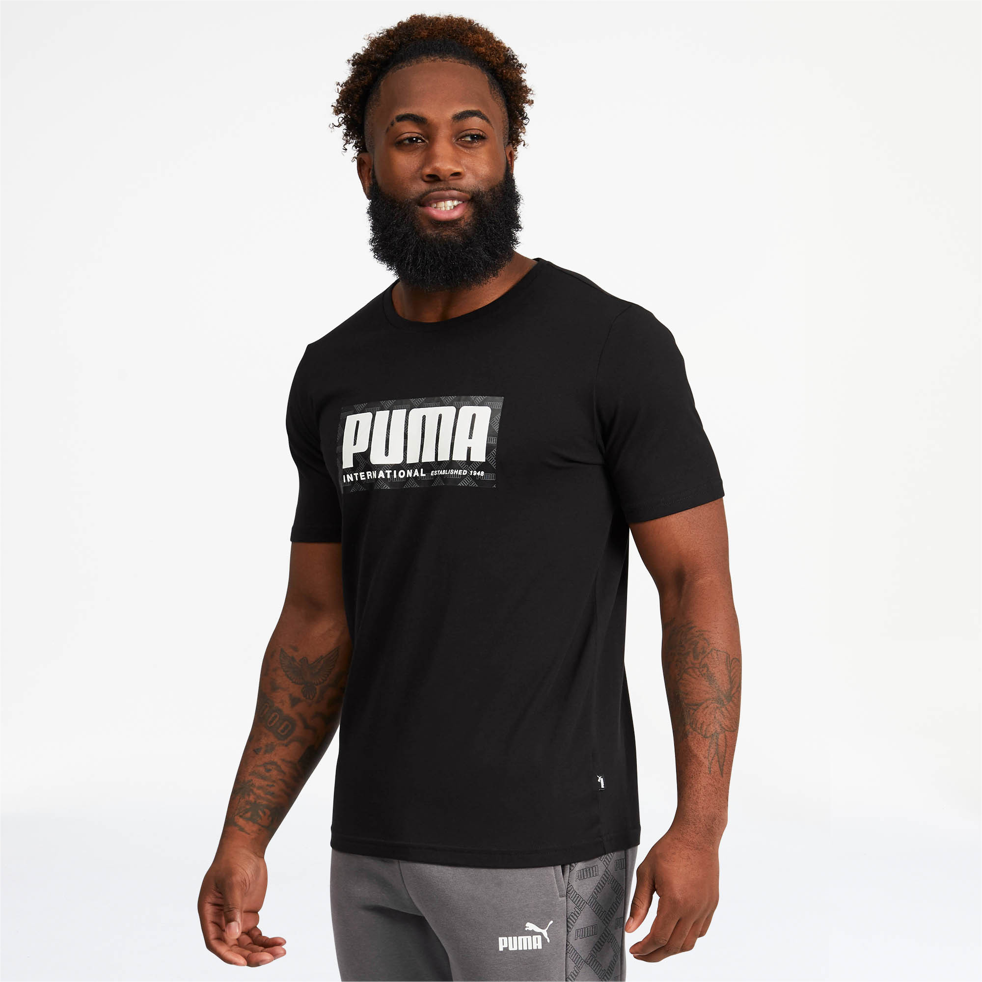 PUMA-Logo-AOP-Pack-Men-039-s-Graphic-Tee-Men-Tee-Basics thumbnail 4