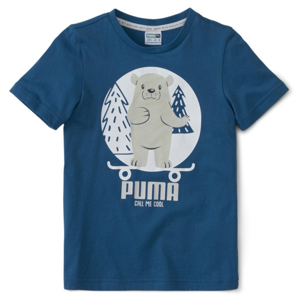 For your wild child who can\\'t be slowed down. The PUMA Animals Tee features a cute puma-inspired graphic at the front paired with a soft 100% more sustainably sourced cotton feel for fashion you can feel good about. | PUMA Animals Kids\\' Suede T-Shirt in Digi/Blue, Size L