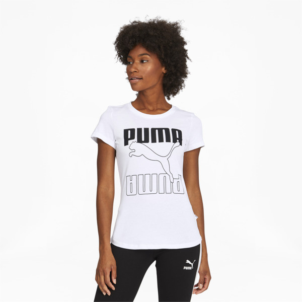 Move to your own rhythm in the Rebel Graphic Tee. Featuring a dropped hem for a comfortable fit and sustainably sourced cotton, this tee is bold style you can feel good about. | PUMA Rebel Women\\'s Graphic T-Shirt in White/Black, Size S