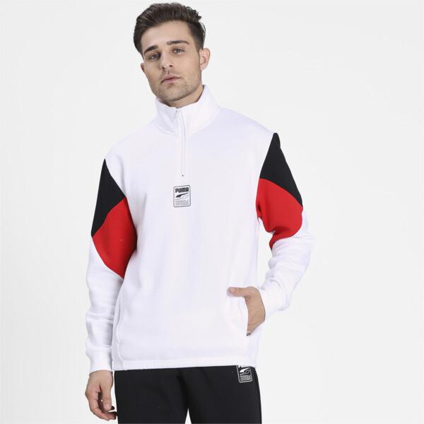 Puma Rebel Men's Half Zip Sweatshirt In White, Size S