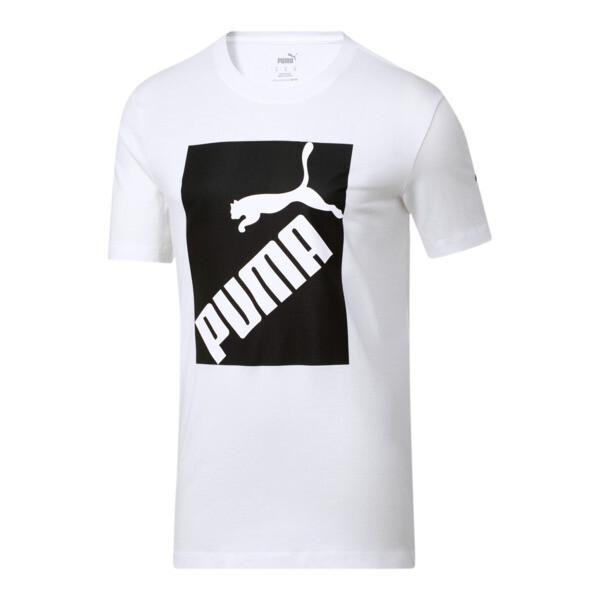 puma big box men's logo t-shirt in white/black, size s