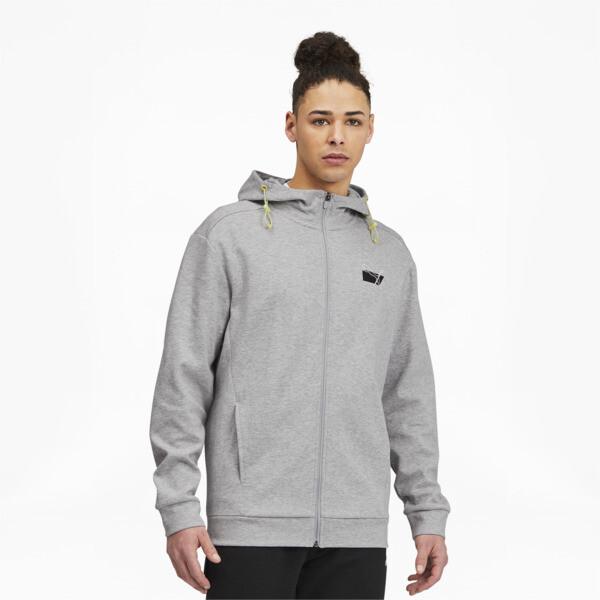puma rad/cal men's full zip hoodie in light grey heather, size s
