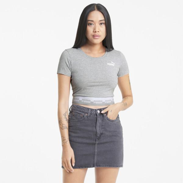 Puma Amplified Women's Slim T-Shirt In Light Grey Heather, Size Xl