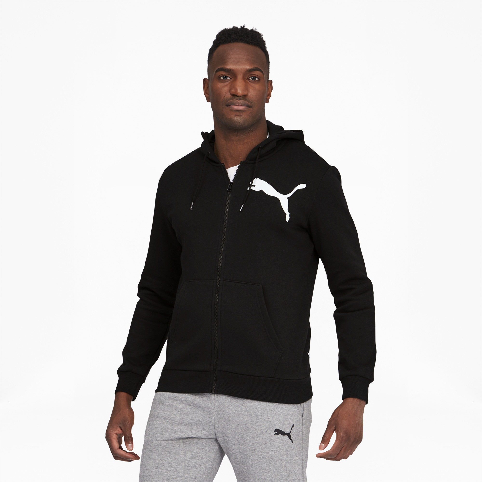 thumbnail 4 - PUMA Men's Big Logo Full Zip Back Hoodie