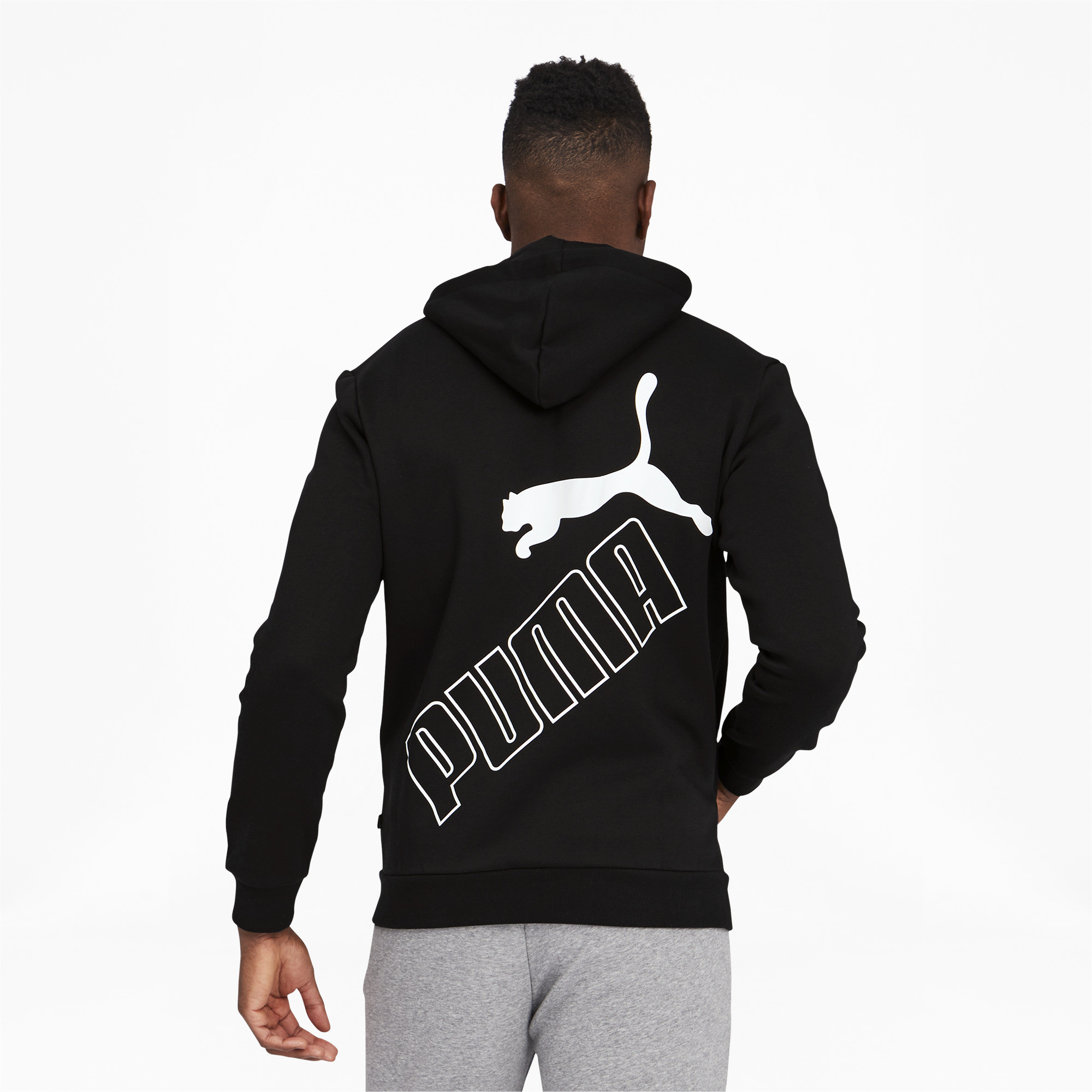 thumbnail 5 - PUMA Men's Big Logo Full Zip Back Hoodie