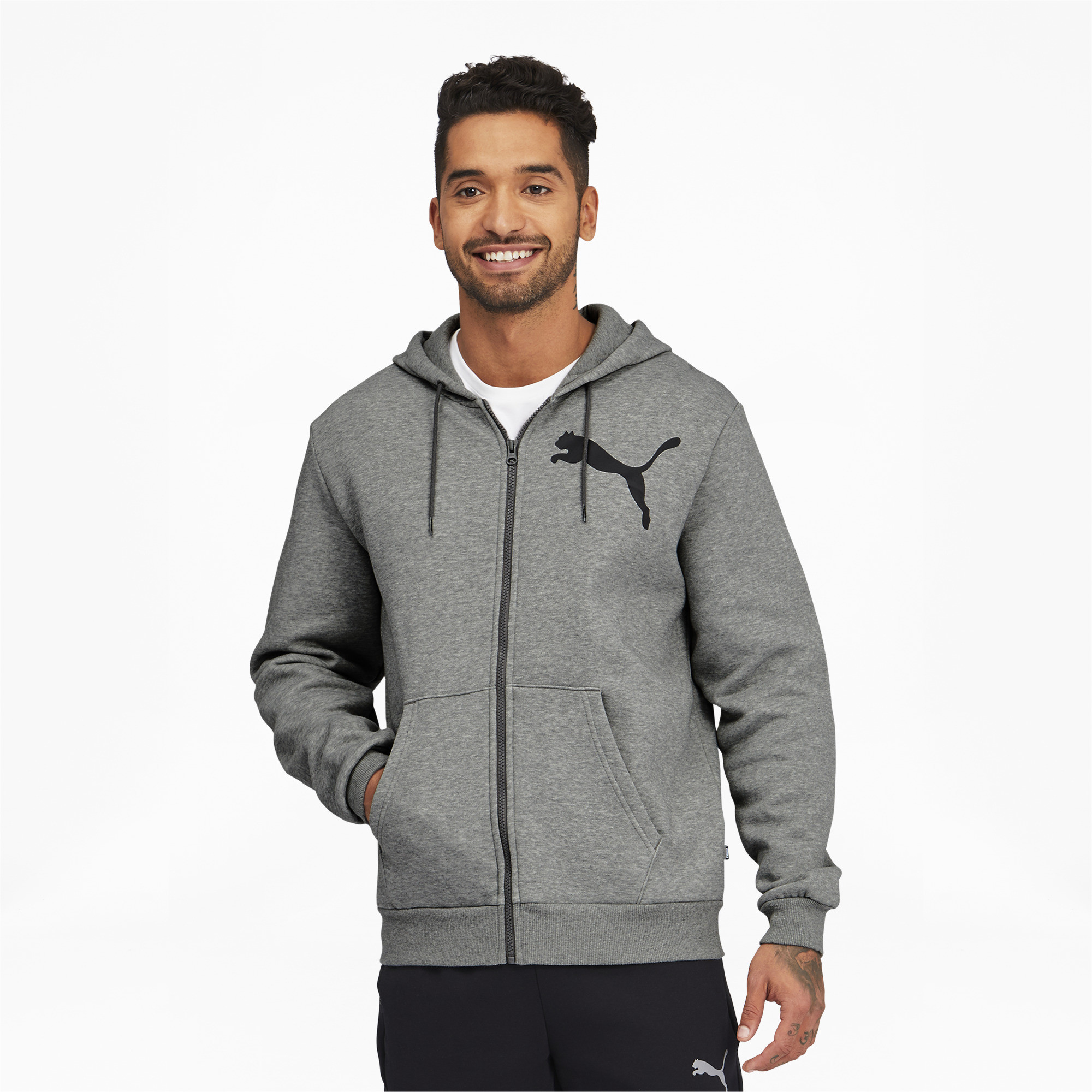 thumbnail 9 - PUMA Men's Big Logo Full Zip Back Hoodie