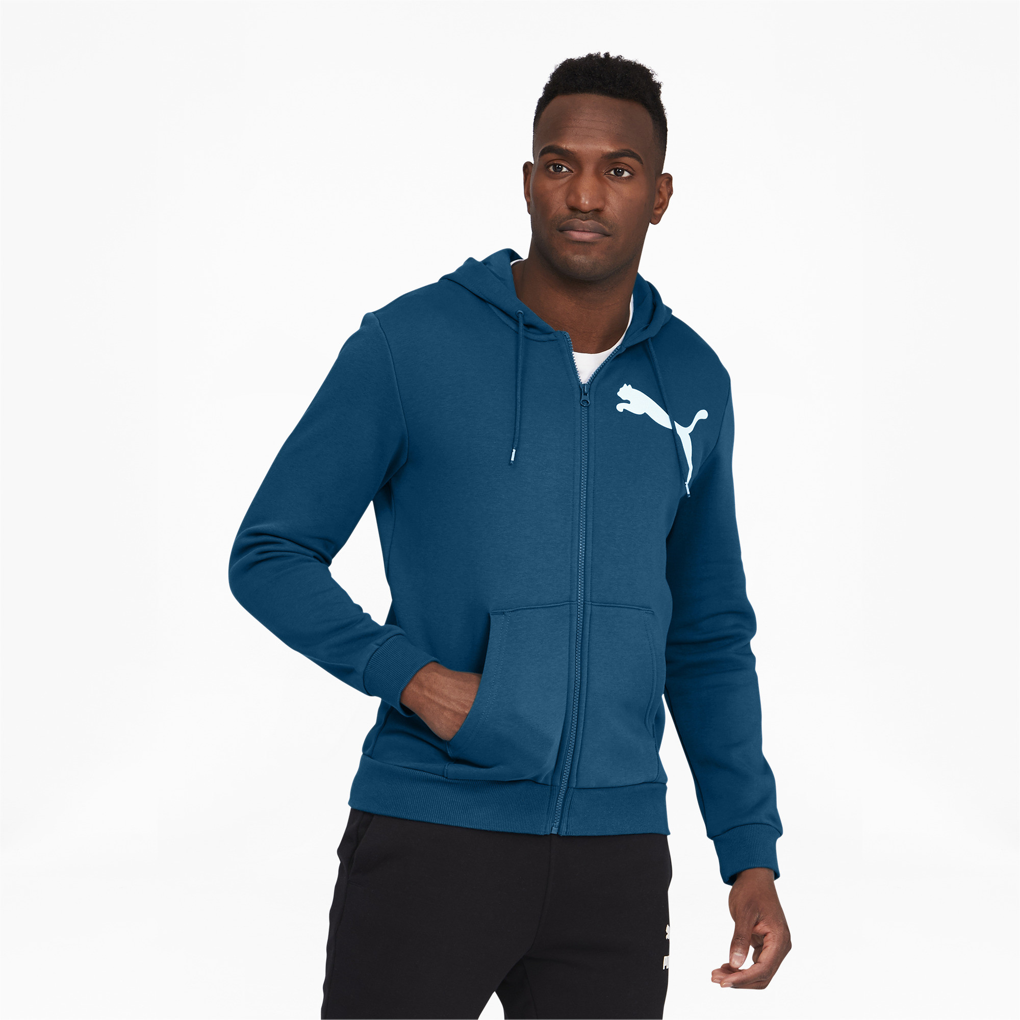 thumbnail 14 - PUMA Men's Big Logo Full Zip Back Hoodie