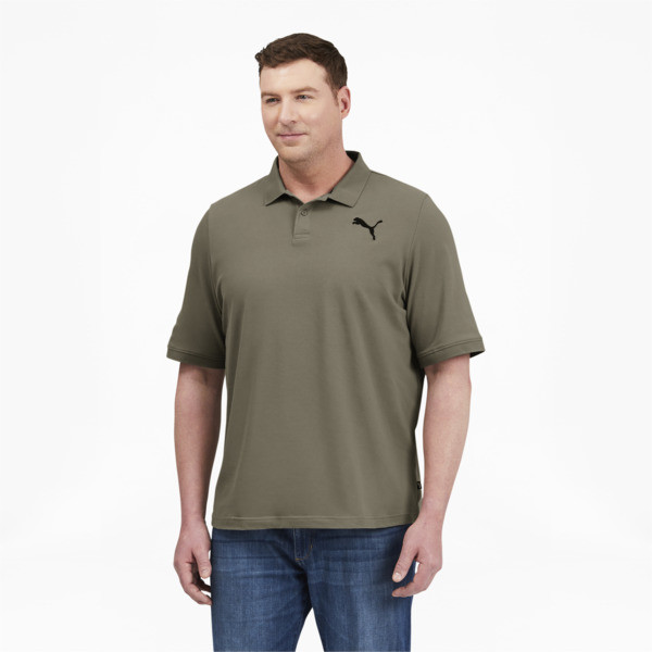 Puma Essentials Men's Pique Polo Shirt Bt In Vetiver, Size Lt