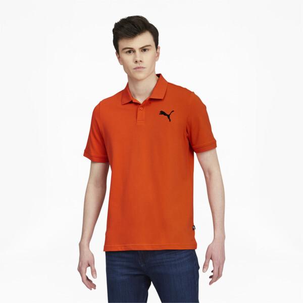 Puma Essentials Men's Pique Polo Shirt In Tigerlily/Cat, Size Xl