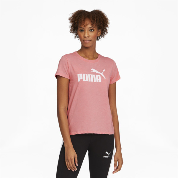 Puma Essentials+ Women's Logo Heather T-Shirt In Salmon Rose Heather, Size M