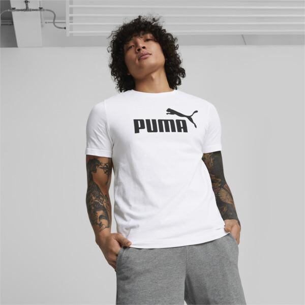 Puma Essentials Men's Logo T-Shirt In White, Size M