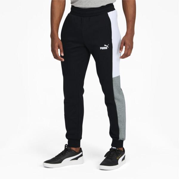 puma block men's sweatpants in cotton black, size s