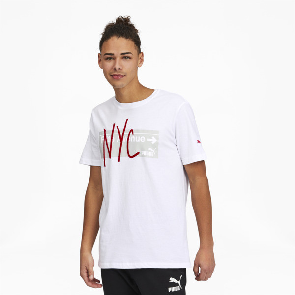 Puma Nyc Fifth Ave Men's T-Shirt In White, Size S