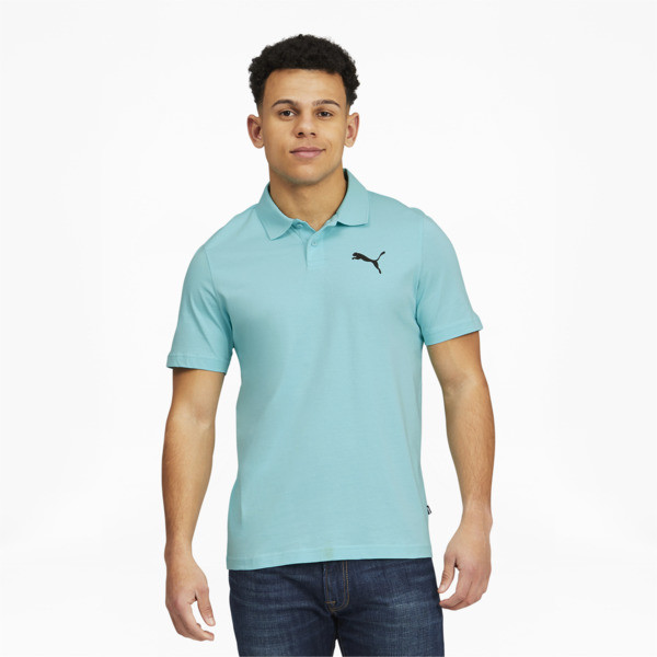 Puma Essentials Men's Jersey Polo Shirt In Angel Blue, Size S