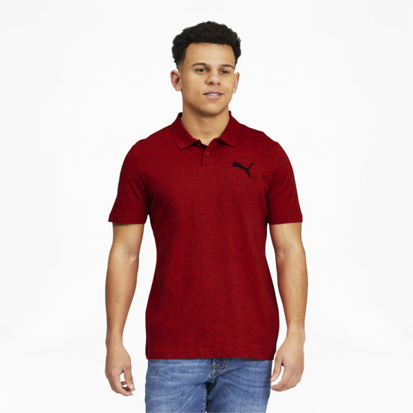 Puma Essentials Men's Heather Polo Shirt In High Risk Red Heather, Size S