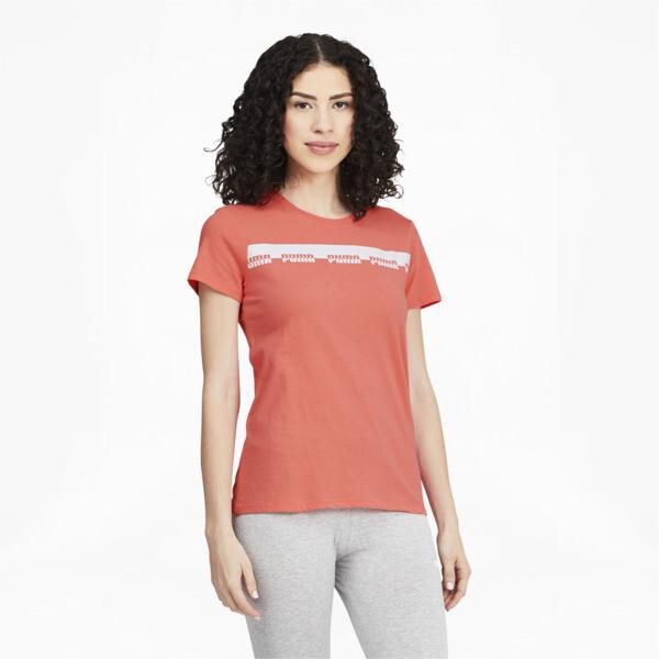 Puma Script Women's T-Shirt In Georgia Peach, Size Xs