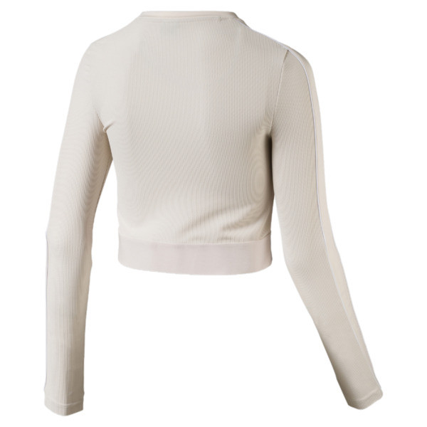 Classics Rib Cropped Long Sleeve Women's Top, Pastel Parchment, large