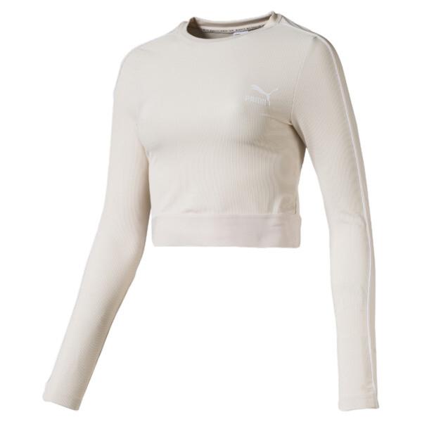 Classics Women's Long Sleeve Crop Top, Pastel Parchment, large