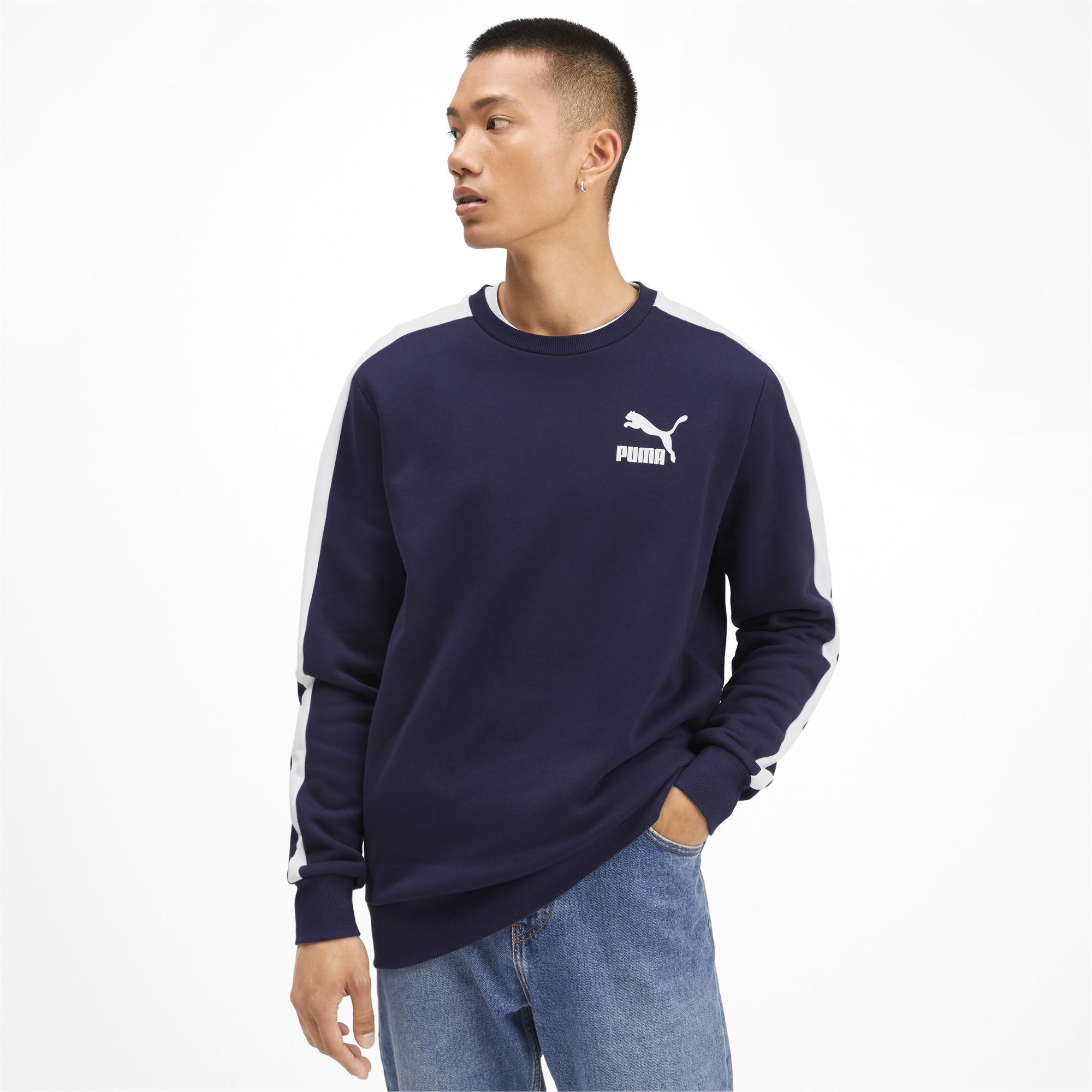 PUMA-Iconic-T7-Men-039-s-Fleece-Crewneck-Sweatshirt-Men-Sweat-Sport-Classics thumbnail 4