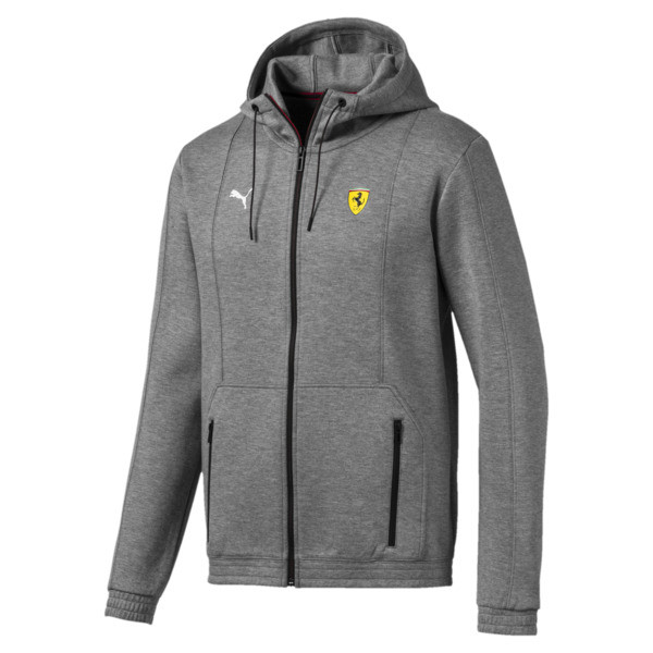 Ferrari Hooded Men's Sweat Jacket, Medium Gray Heather, large