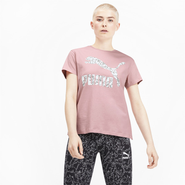 Camiseta Classics AOP con logo para mujer, Bridal Rose, grande