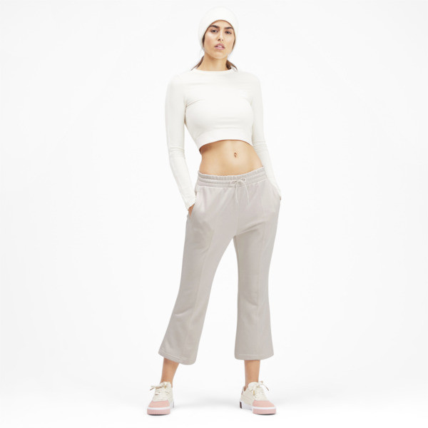 Pantalones acanalados clásicos Kick para mujer, Pastel Parchment, grande
