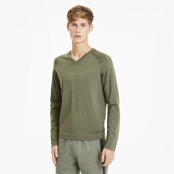 puma porsche design evoknit men's v-neck sweater in deep lichen green, size l