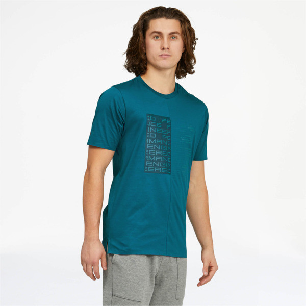 puma porsche design men's graphic t-shirt in moroccan blue, size s
