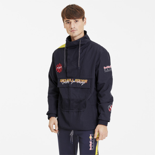 puma red bull racing street men's jacket in black, size s
