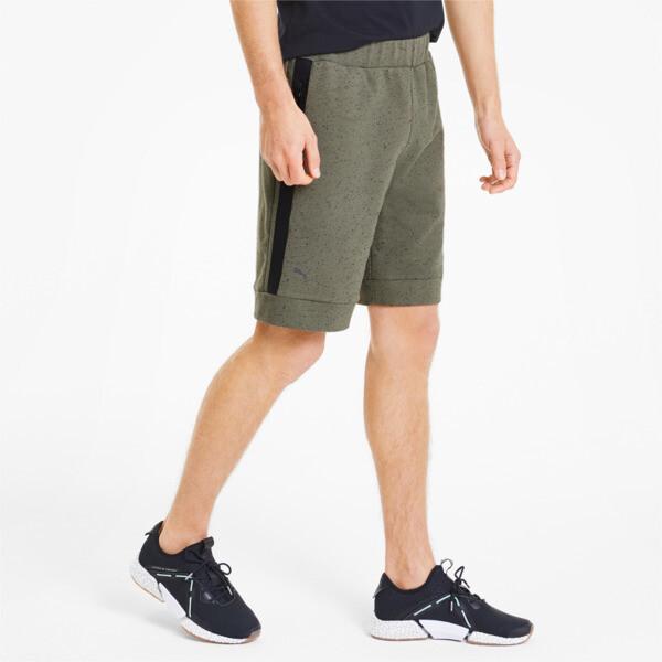 puma porsche design men's sweat shorts in deep lichen green heather, size s