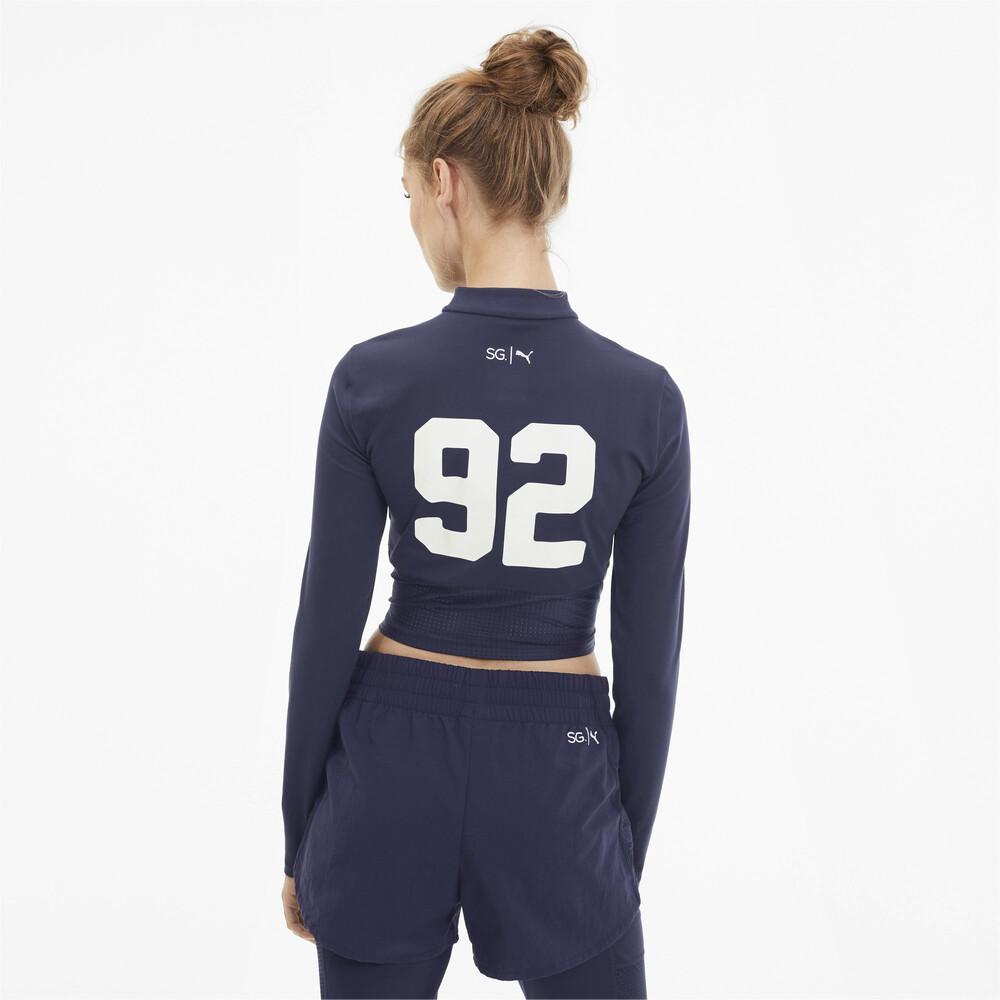 Купить Толстовки и худи, PUMA - female - Олимпийка PUMA x SG Crop 1/2 Zip – Peacoat – XS