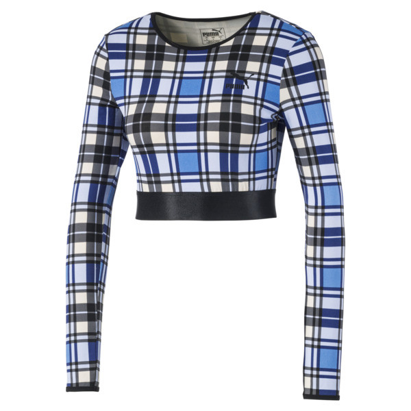 Check Cropped Long Sleeve Women's Top, Strong Blue, large