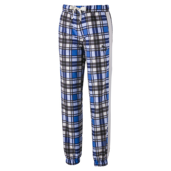 Check Woven Women's Jog Pants, Strong Blue, large