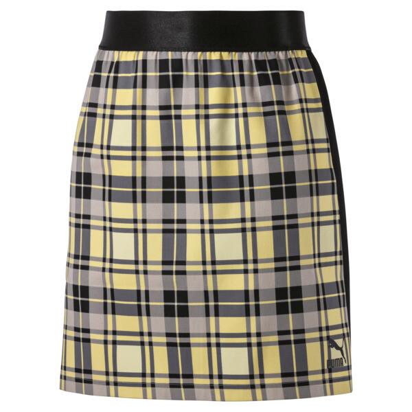 Geruite rok voor vrouwen, Geel crème, large