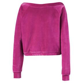 Thumbnail 3 of Velvet Off-Shoulder Damen Sweatshirt, Magenta Haze, medium