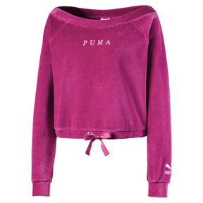 Velvet Off-Shoulder Damen Sweatshirt