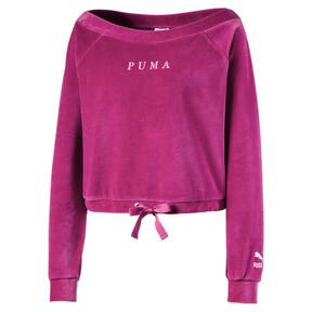 Thumbnail 2 of Velvet Off-Shoulder Damen Sweatshirt, Magenta Haze, medium