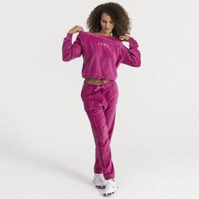 Thumbnail 1 of Velvet Off-Shoulder Damen Sweatshirt, Magenta Haze, medium